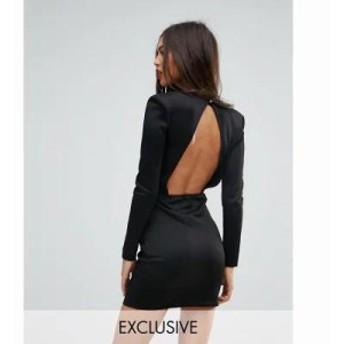 ミスガイデッド ワンピース Missguided Open Back Mini Dress With Shoulder Pads Black