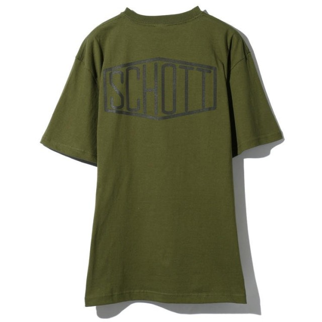 ショット HEXAGON LOGO T SHIRT/ヘキサゴンロゴ Tシャツ メンズ OLIVE XL 【Schott】