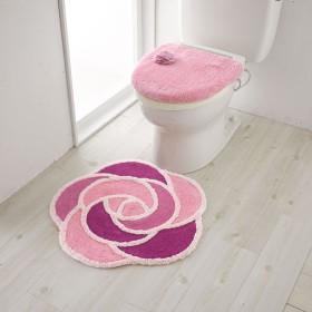 50%OFFローズ柄トイレ用品(単品販売) - セシール ■カラー:ピンク アイボリー ■サイズ:フタカバー特殊型