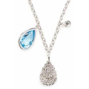 メイラT レディース ジュエリー Blue Sapphire, Diamond and 14K White Gold Pendant Necklace