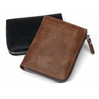 茶・ブラウン★ PUレザー 財布 カードケース メンズ 小銭入れ コンパクト ラウンドファスナー コインケース