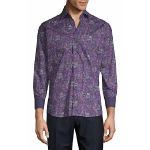 ベルティゴ Men Clothing Printed Cotton Button-Down Shirt
