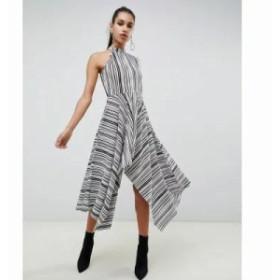 エイソス ワンピース asymmetric one shoulder plisse dress in mono stripe Mono stripe
