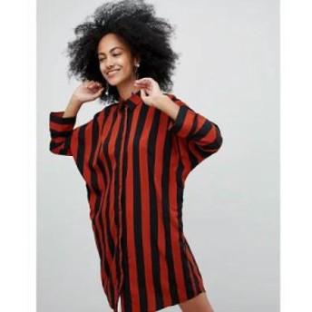 モンキー ワンピース Wide Stripe Shirt Dress Multi