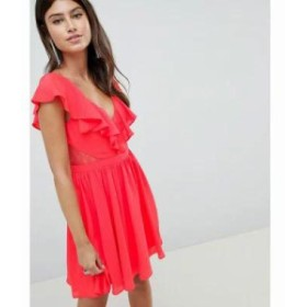 エイソス ワンピース DESIGN Lace Insert Mini Dress With Ruffle Bodice Bright red