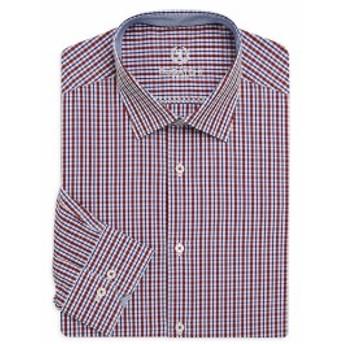 ブガッチ Men Clothing Shaped-Fit Checkered Cotton Dress Shirt