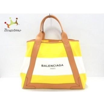 バレンシアガ BALENCIAGA トートバッグ 美品 ネイビーカバM 339936 イエロー×白×ベージュ 値下げ 20190520