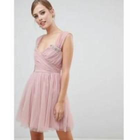 エイソス ワンピース embellished tulle mini dress Blush