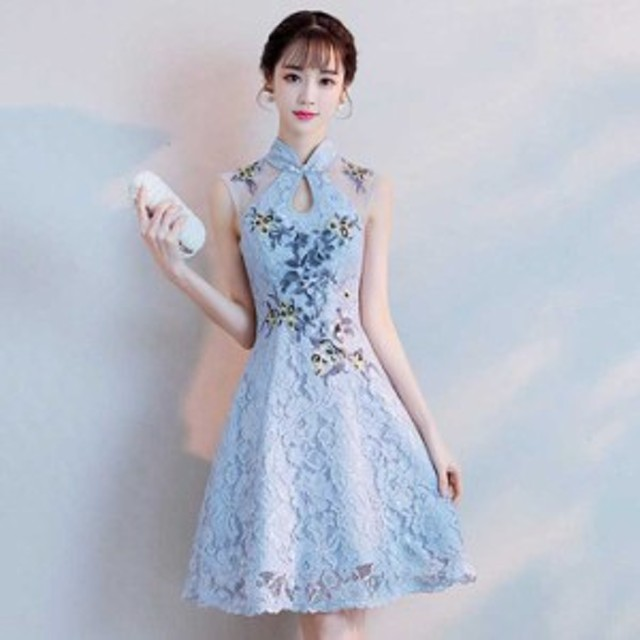 チャイナドレス ワンピース パーティードレス チャイナ風服 女子会 ノースリーブ ショート丈 刺繍入り レース  S M L LL 3L ブルー青い