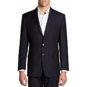 カルバンクライン Men Clothing Hairline-Striped Slim-Fit Wool Jacket