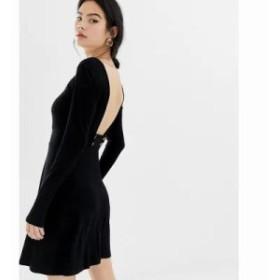 エイソス ワンピース low button back rib skater dress Black