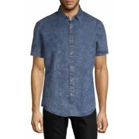 サックスフィフスアベニュー Men Clothing Distressed Chambray Button-Down Shirt