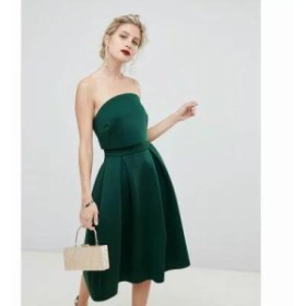 エイソス ワンピース Bandeau Crop Top Prom Midi Dress Bottle green