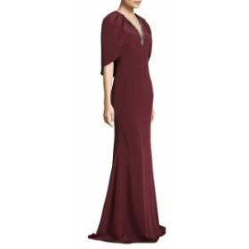 テイア レディース ワンピース Floor-Length Cape Crepe Gown