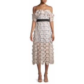 セルフ-ポートレイト レディース ワンピース 3D Floral Midi Off-The-Shoulder Dress