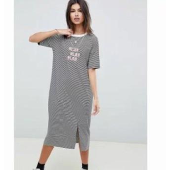 エイソス ワンピース blah stripe midi t-shirt dress Stripe
