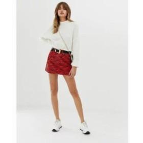 リバーアイランド ミニスカート denim mini skirt in red tiger print Multi
