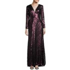 タダシショウジ レディース ワンピース Long Sleeve Sequined Empire Waist Gown