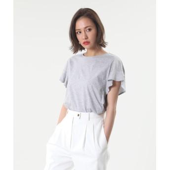 【PLST】シルケットコットンラッフルスリーブTシャツ