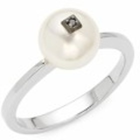 マジョリカ レディース ジュエリー 8MM White Pearl, Black Diamond & Sterling Silver Ring