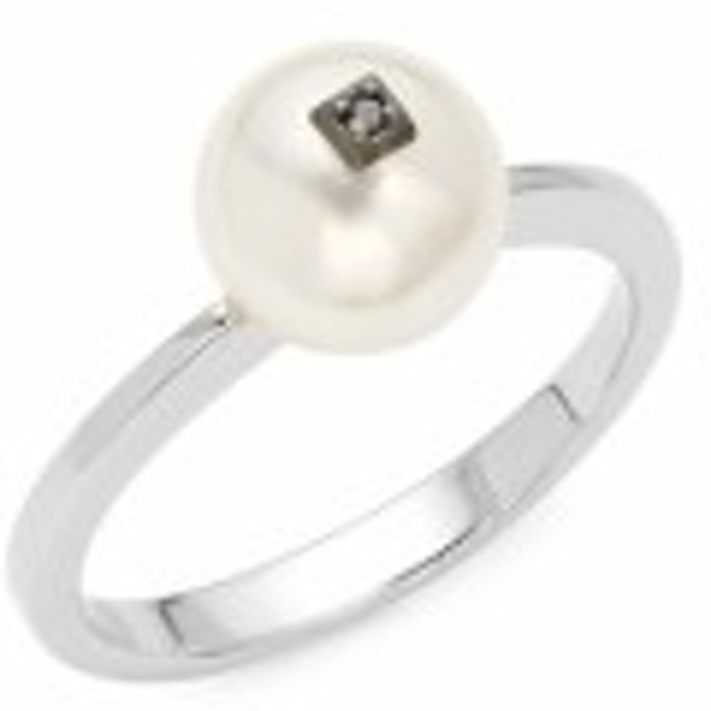 マジョリカ レディース ジュエリー 8MM White Pearl, Black Diamond &amp Sterling Silver Ring