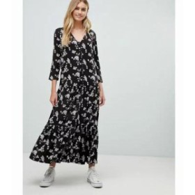 エイソス ワンピース button through casual maxi dress in washed floral print Multi
