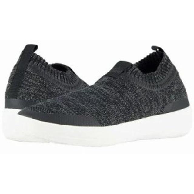 フィットフロップ スリッポン・フラット Uberknit Slip-On Sneakers Black/Soft Grey