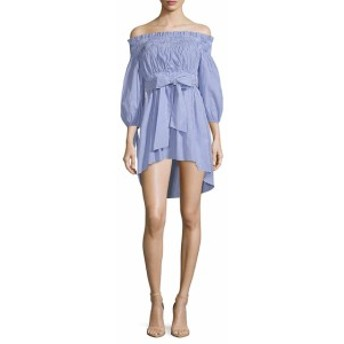 ファースト サイト レディース ワンピース Off-The-Shoulder Belted Cotton Dress