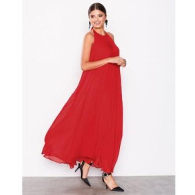 ミスガイデッド パーティードレス pleated strappy maxi dress Red