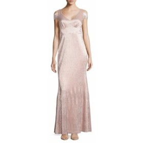 カルバンクライン レディース ワンピース Metallic Cold-Shoulder Gown