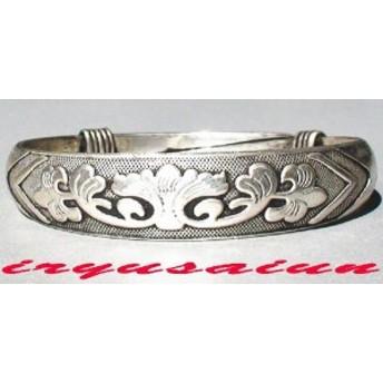 開運 チベット銀 蔵銀 腕輪 花 silver 新品 レディースファッション