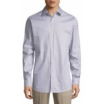 セオリー Men Clothing Micro Check Cotton Button-Down Shirt
