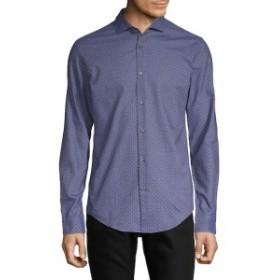 ボスヒューゴボス Men Clothing Ridley Geometric-Print Cotton Button-Down Shirt