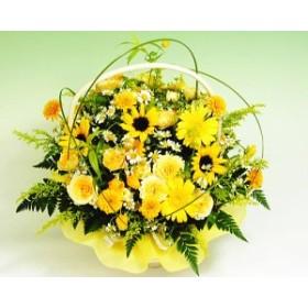 アレンジメント 誕生日 プレゼント 黄色のキラキラアレンジ 夏 ひまわり 女性