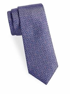 メンズ ネクタイ サックスフィフスアベニュー Interlocking Floral Silk Tie