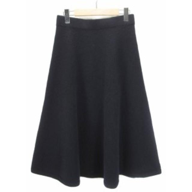 【中古】ダーマコレクション dama collection スカート フレア ニット ウール L 紺 レディース