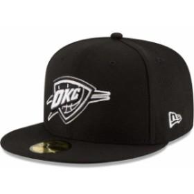 New Era ニュー エラ スポーツ用品  New Era Oklahoma City Thunder Black Black & White Logo 59FIFTY Fitted Hat