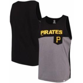 Majestic マジェスティック 服 タンクトップ Majestic Pittsburgh Pirates Black/Gray Throw the Towel Pocket Tank Top