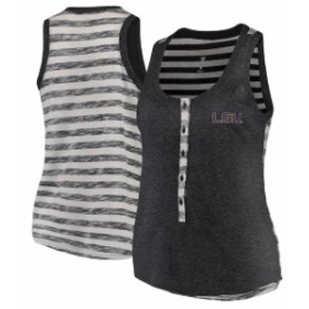 Colosseum コロセウム スポーツ用品 Colosseum LSU Tigers Womens Heathered Charcoal Central Perk Henley Tank Top