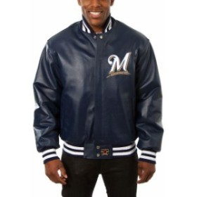 JH Design ジェイエイチ デザイン スポーツ用品  JH Design Milwaukee Brewers Navy Classic Leather Team Jacket