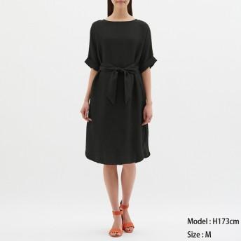 (GU)ロールアップスリーブワンピース(5分袖) BLACK L