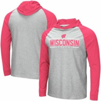 Colosseum コロセウム スポーツ用品 Colosseum Wisconsin Badgers Heathered Gray Slopestyle Raglan Hooded Long Sleeve T-