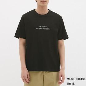 (GU)コットンクルーネックT(半袖)(ロゴ1) BLACK XL