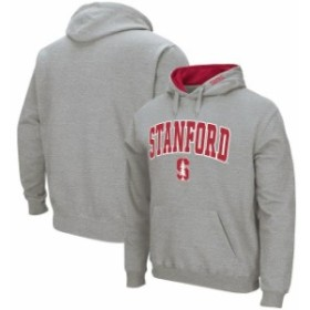 Colosseum コロセウム スポーツ用品  Colosseum Stanford Cardinal Heather Gray Arch & Logo Tackle Twill Pullover Hoodie