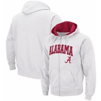 Colosseum コロセウム スポーツ用品 Colosseum Alabama Crimson Tide White Arch & Logo Full-Zip Hoodie