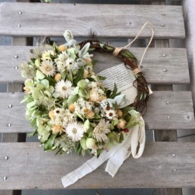 受注紫陽花と白いお花のハーフリース