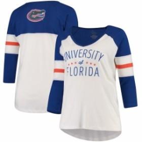 Pressbox プレス ボックス スポーツ用品  Pressbox Florida Gators Womens Cream/Royal Plus Size Pomona 3/4 Sleeve V-Nec