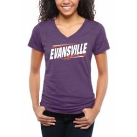 Fanatics Branded ファナティクス ブランド スポーツ用品  Evansville Purple Aces Womens Purple Double Bar Tri-Blen