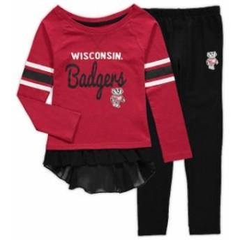 Outerstuff アウタースタッフ スポーツ用品 Wisconsin Badgers Girls Preschool Red/Black Mini Formation Long Sleeve T