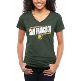 Fanatics Branded ファナティクス ブランド スポーツ用品  San Francisco Dons Womens Green Double Bar Tri-Blend V-N